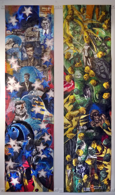 a Mixed Media Collaborative Work   91.9 x 23.6 each piece